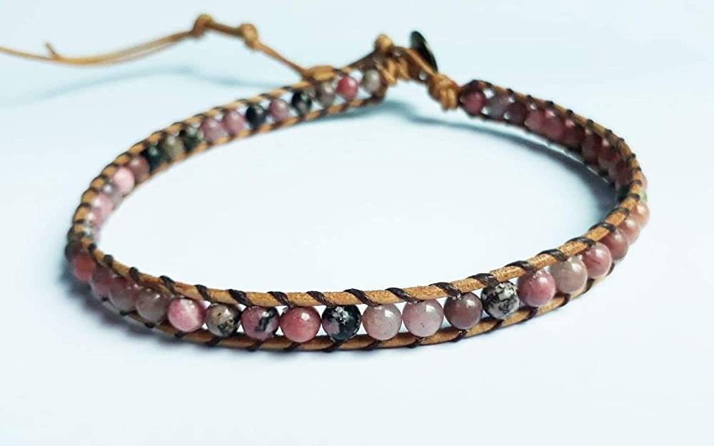 Rhodonite real stone anklets pink anklets beaded anklets men women anklets fashion anklets friendship anklets