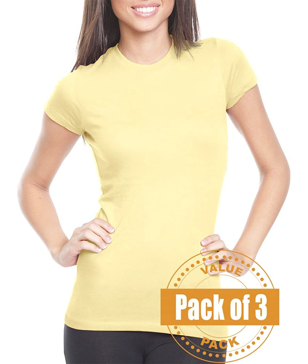 Next Level Womens The Perfect Tee 3300L-Banana Cream (3 Pack)