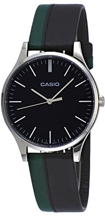 Casio MTP-E133L-1E Mens Standard Minimalist Leather Band Black Dial Watch