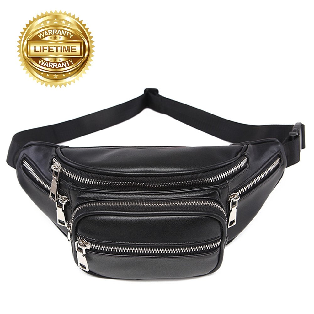 8ca3ffc5fd1d Amazon.com   VAQM Fanny Pack for Men Waist Bag Black Belt Fanny Pack PU  Leather Belt Bag Stylish Waist Pack for Womens(Black)   Sports   Outdoors