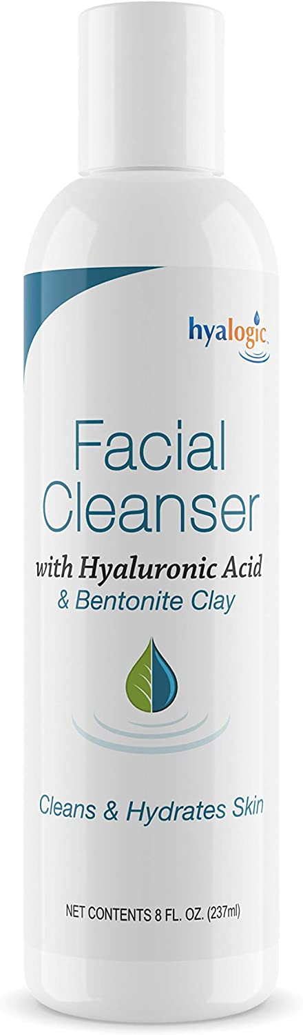 HA Face Wash, Hyaluronic Acid Facial Cleanser – Moisturizing, Paraben-Free Daily Face Scrub with Bentonite Clay – Get Youthful, Glowing Skin Naturally! (8 oz.) by Hyalogic