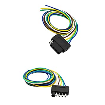 magideal 2 pieces 5-pin flat plug trailer led indicator lights wiring  harness extension us: amazon ca: sports & outdoors