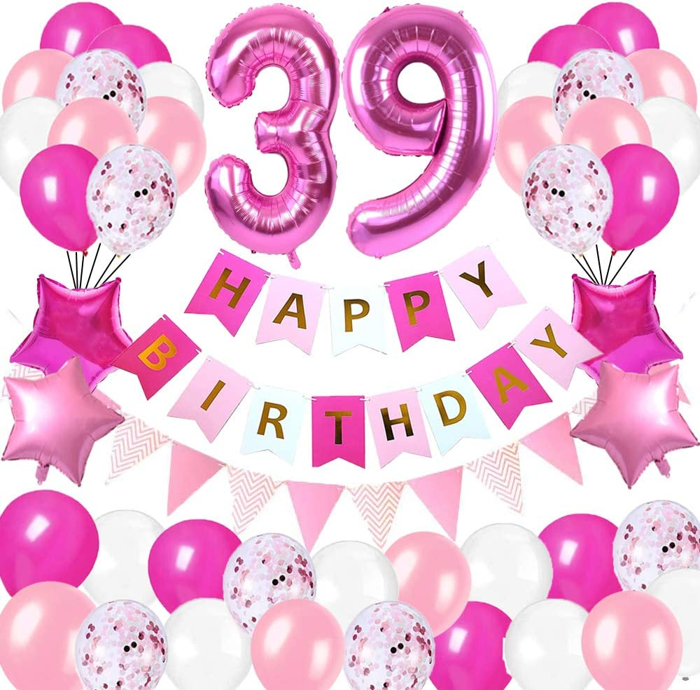 Happy Birthday Banner Foil Number Balloons Latex Balloons and More for 39 Years Old Brithday Party Supplies Happy 39th Birthday Party DecorationsRose Red and Pink Brithday Decorations Set