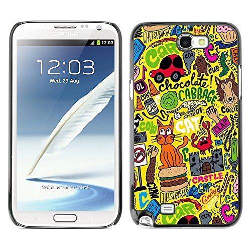 Soft Silicone Rubber Case Hard Cover Protective Accessory Compatible with SAMSUNG GALAXY? NOTE 2 & N7100 - art yellow cat busy drawing abstract