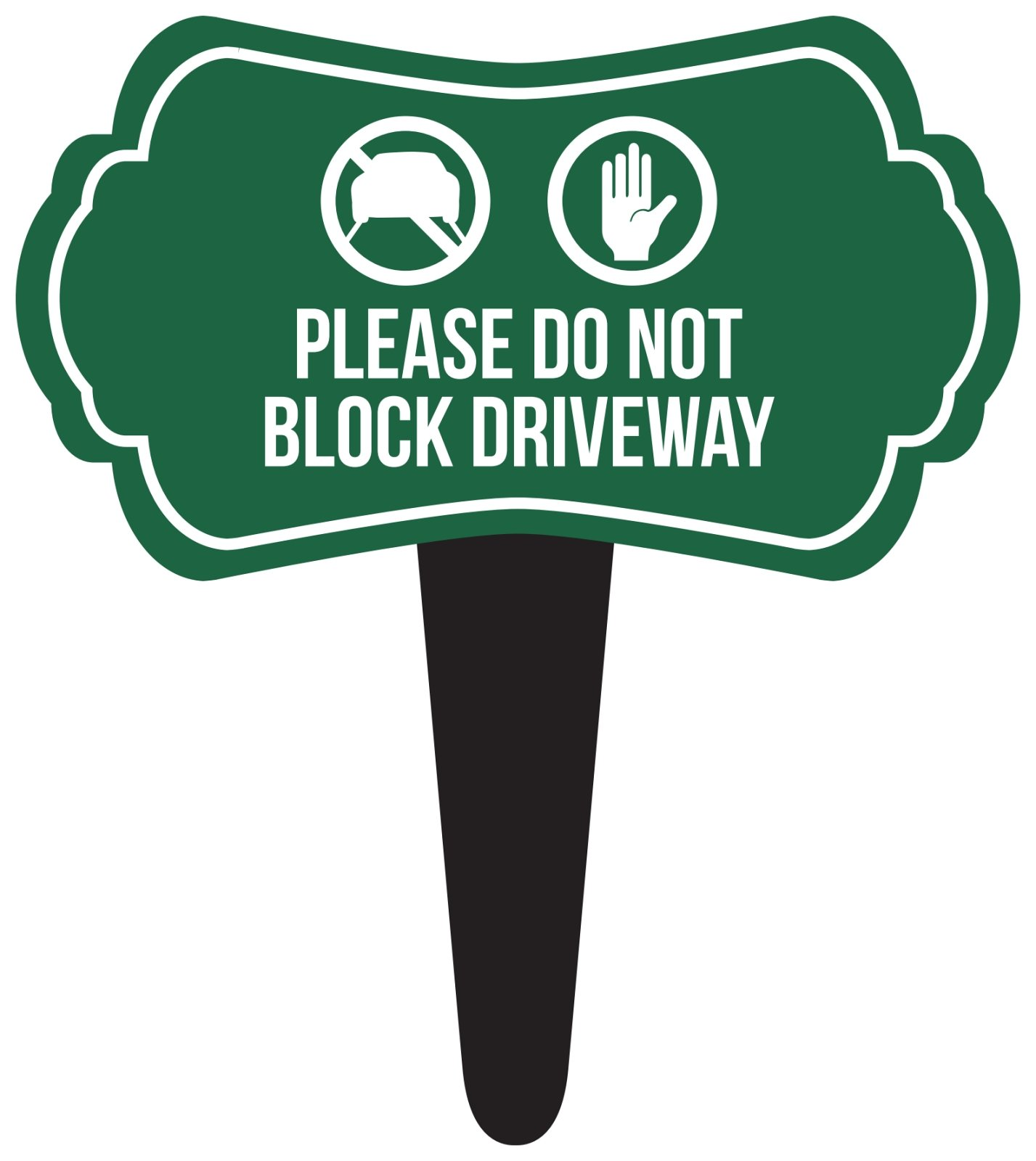 iCandy Combat Please Do Not Block Driveway Home Yard Lawn Sign, Green, 16x18, Single