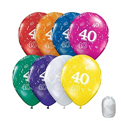 "10 Pack 11"" Assorted Colors 40 Around 40th Birthday Latex Balloons with Matching Ribbon: Toys & Games"