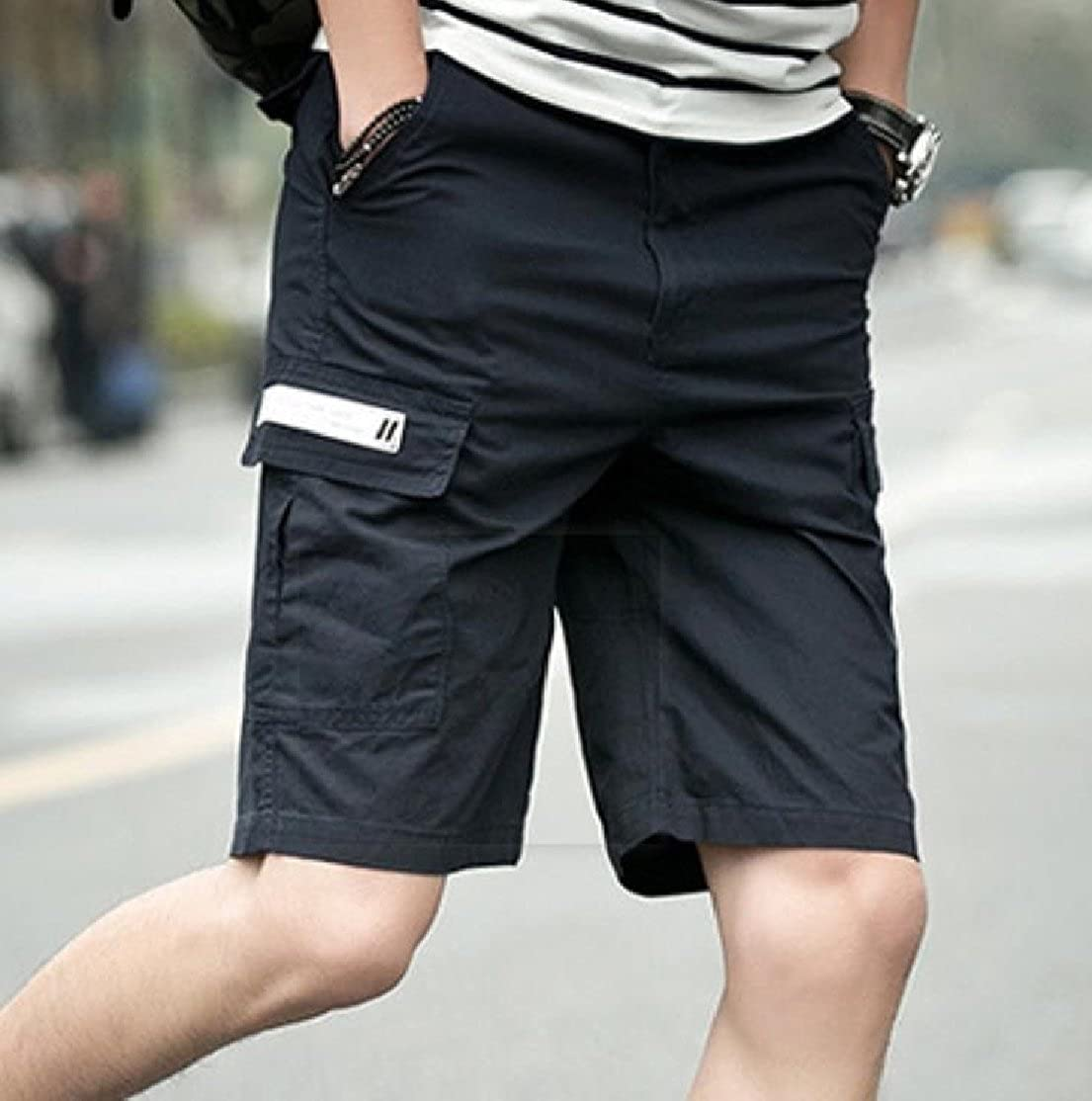 YUNY Mens Big and Tall Straight-Fit Thin Solid Cargo Half Pants Navy Blue 3XL