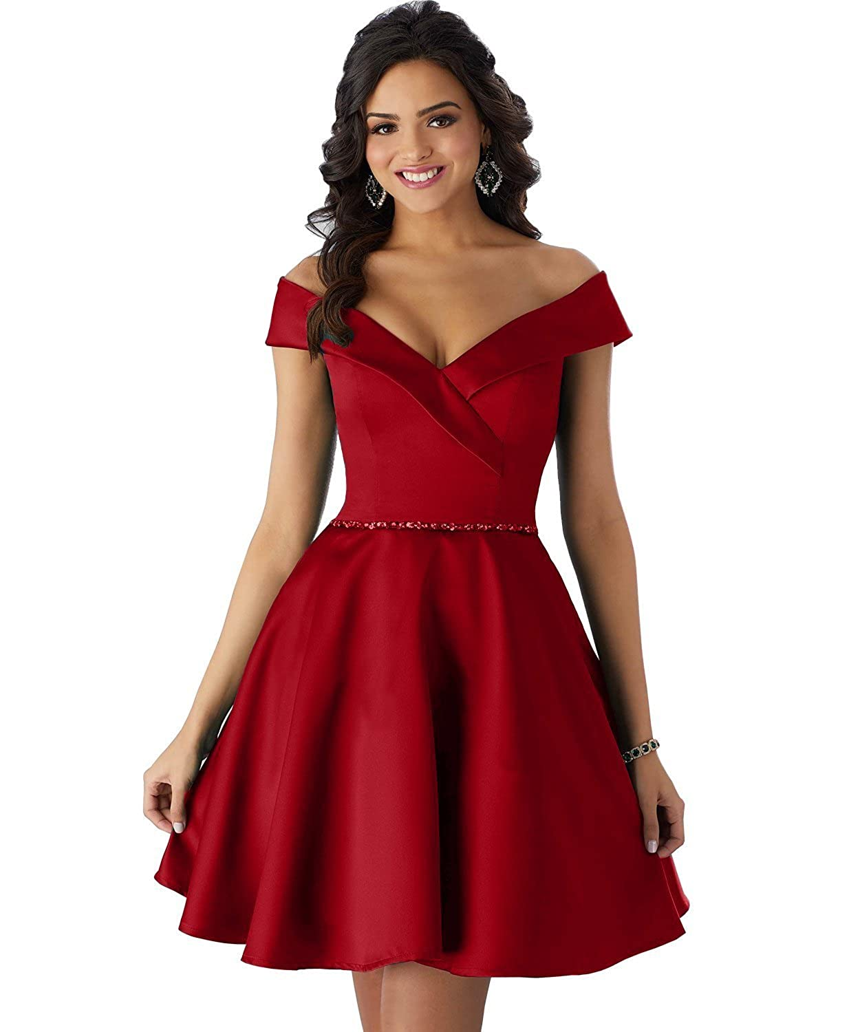 c04b4556053 Loving House Women s Off the Shouder A Line Homecoming Dress Short Beaded  Prom Party Gown P095 Embellishment  Off the Shoulder