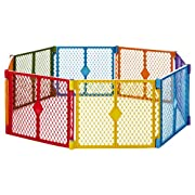 Superyard Colorplay 8-Panel  by North States: Freestanding, portable play yard to keep children safe indoors or outdoors. Freestanding. 256  length, 34.4 sq. ft. enclosure (26  tall, Multicolor)