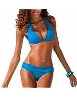 DELEY Mujeres Retro Cuello Halter Bikini Triángulo Brasileña Traje De Baño Ropa De Playa Verano Vacaciones Bañadores Swimwear