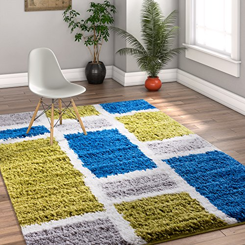 Shaggy Cubes Blue & Green Plush Shag Modern Geometric Blocks & Squares 7x10 (6'7'' x 9'10'') Area Rug Easy Plush Shag Easy Care Thick Soft Plush Living Room (Square Green Shag Rug)