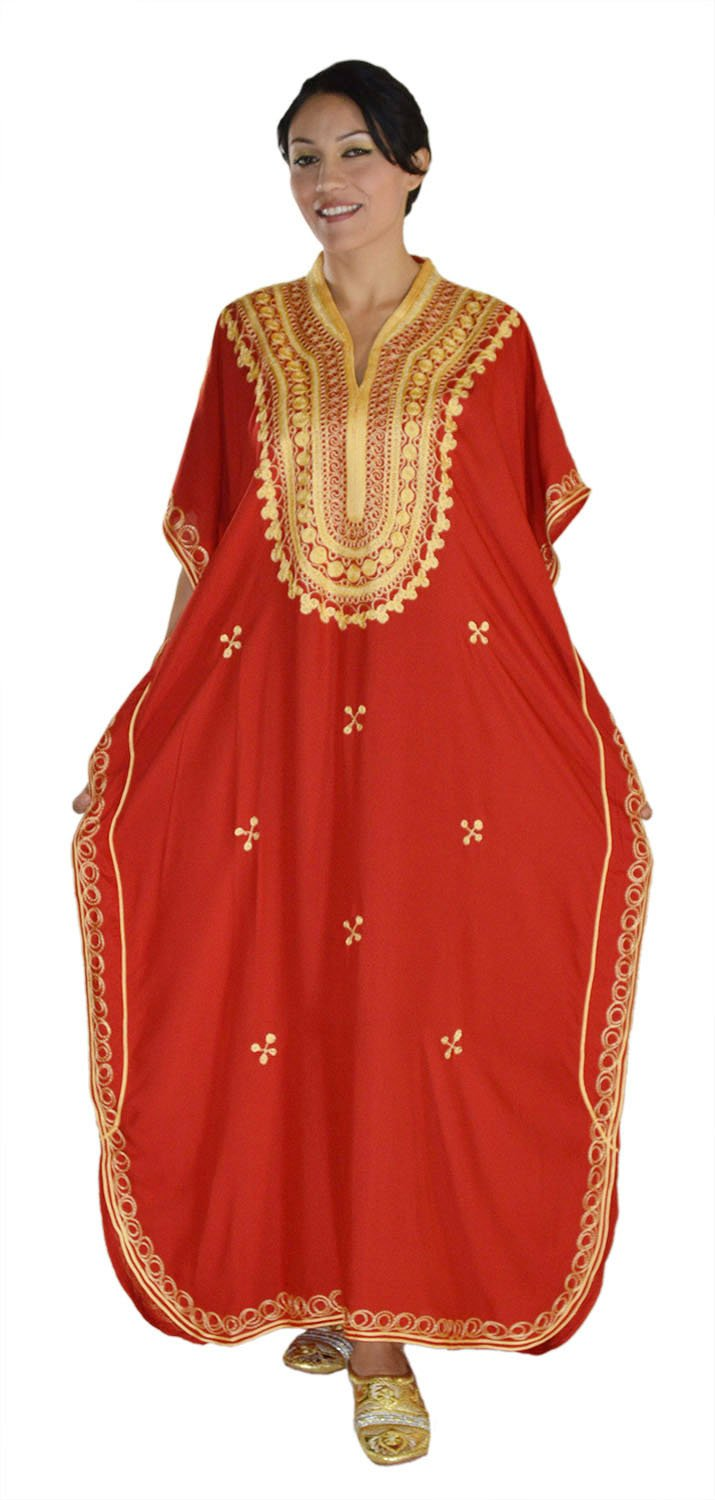 Moroccan Caftan Hand Made Top Quality Breathable Cotton with Gold Hand Embroidery Long Lenght Red