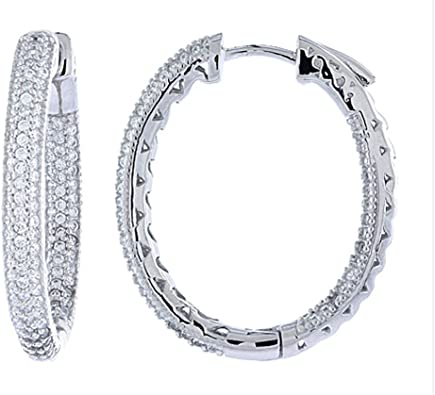 Inside Outside Micro-Pave CZ Oval Hoop Earrings Rhodium Plated Cubic Zirconia