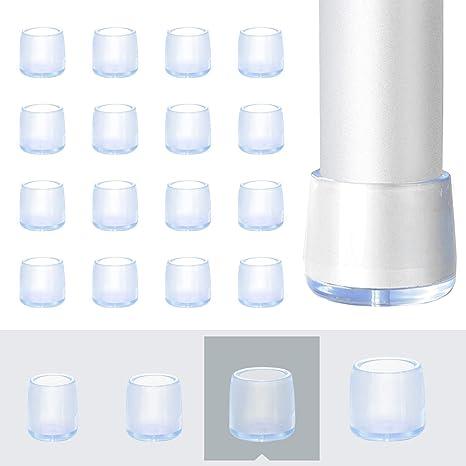 AMIGOB 36 PCS Non Slip Rubber Chair Furniture Feet Pads Caps Fit for Diameter 12 mm Caliber Round 16 mm Chair Desk Feet Clear