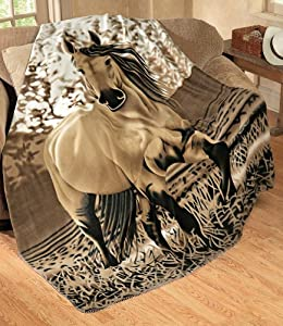 "Western Horse Soft Fleece Throw Blanket, 63""x73"" by Collections Etc"
