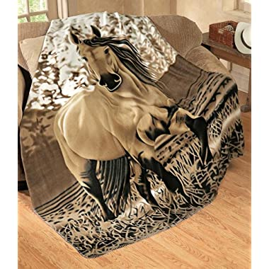Western Horse Soft Fleece Throw Blanket, 63 x73