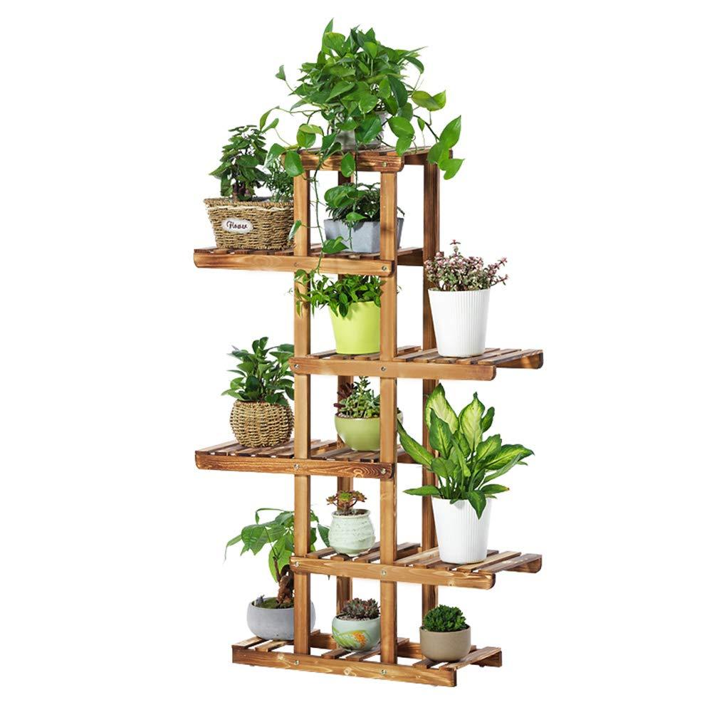 Solid wood flower rack Massivholz Blumenständer grün Rettich Multi - Boden Blumenständer Bonsai Holz Blumenständer Balkon Wohnzimmer Interieur (Farbe : Holzfarbe, größe : 62 * 26 * 130cm)