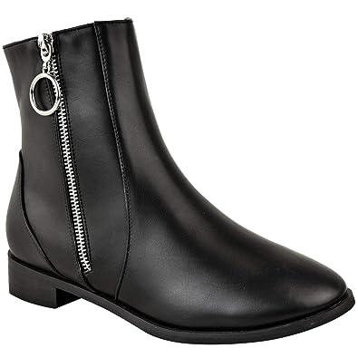 Fashion Thirsty Womens Ladies Flat Low Heel Chelsea Black Ankle