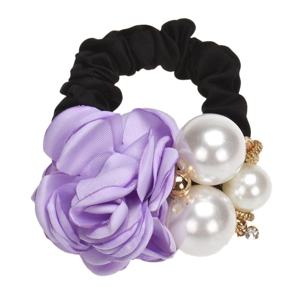 Canserin Pearls Beads Rose Flower Hair Band Rope Scrunchie Ponytail Holder (Purple)