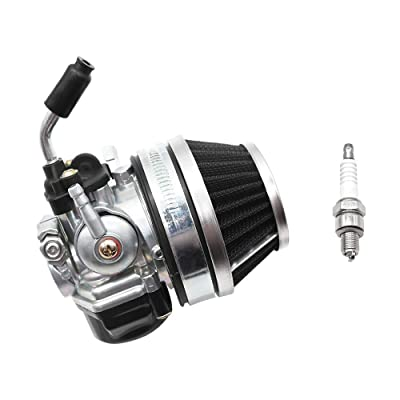 PUCKY Carburetor 49cc 66cc 70cc 80cc with spark plug, For 2 Stroke Engine Motorized Bicycle Carburetor (black): Automotive [5Bkhe1510210]