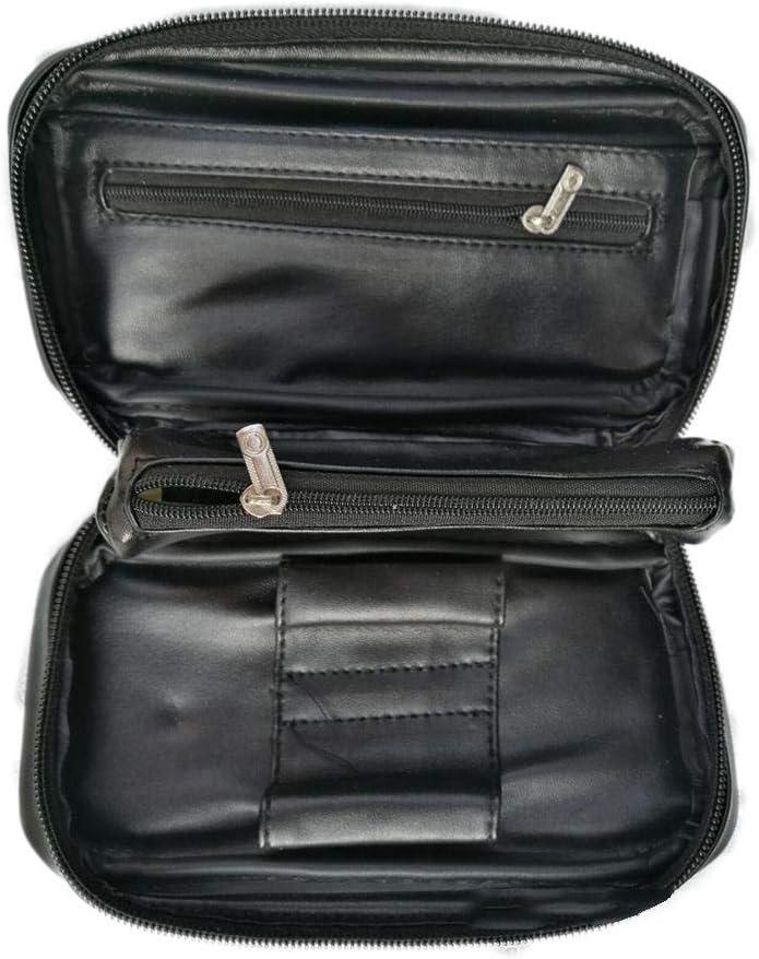 Blague /à tabac en cuir v/éritable souple avec 2 poches pour pipe