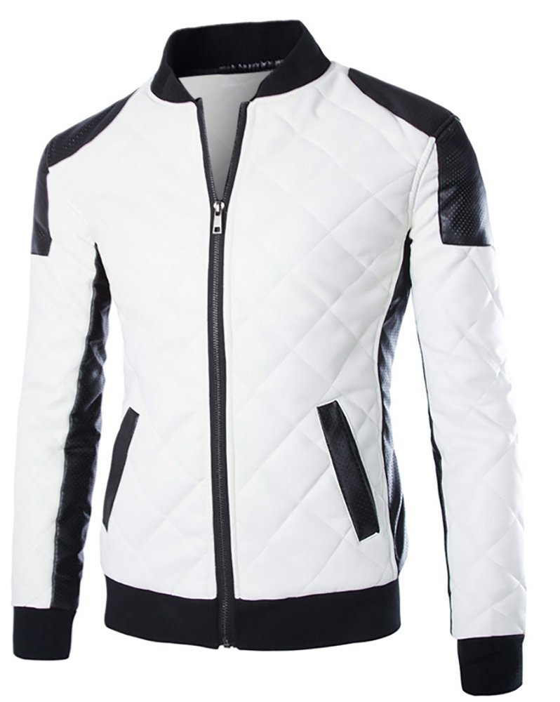 Cloud Style Men's latticed Baseball Bomber Jacket Slim Fit Coat, Small, White by Cloudstyle