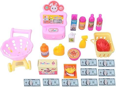 Tnfeeon Juguete de Supermercado, Caja registradora Juego de imaginación Supermercado Tienda de Juguetes Juego de carritos de Compras Accesorios para niños Niñas: Amazon.es: Juguetes y juegos