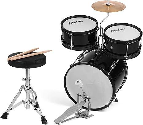 Muslady Set de Batería de 3 piezas Instrumento Musical de Percusión con Platillo Baquetas Taburete Ajustable: Amazon.es: Instrumentos musicales