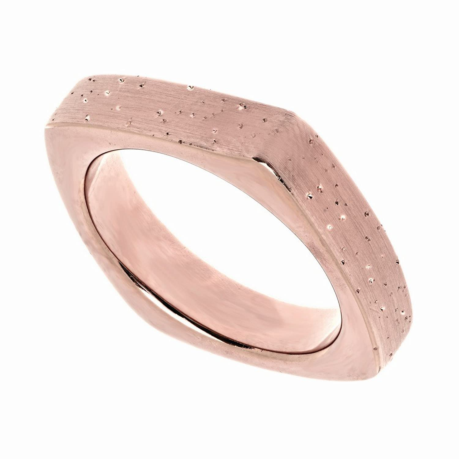Amazon.com: Silver Rose Finish 4.7mm Shiny Textured Square Type Ring ...