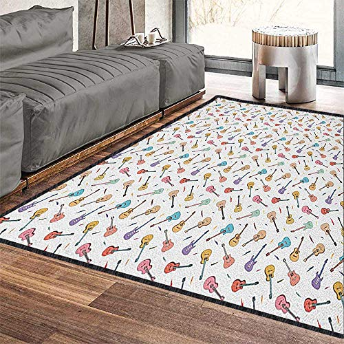 Guitar Colorful Area Rug,Rhythm and Melody Pattern with Colorful Acoustic Guitars Country Music Songs Theme Add Fashion to Room's Decor Multicolor 79