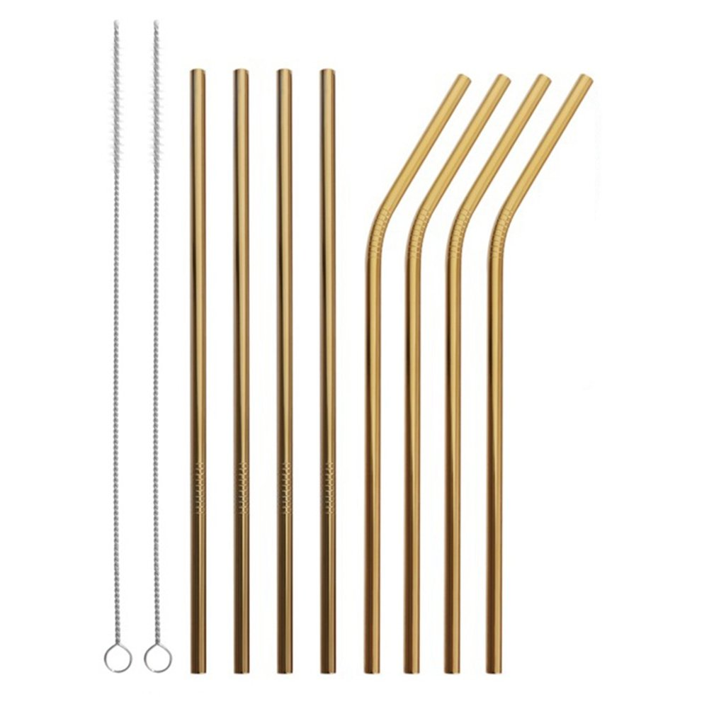 Reusable Stainless Steel Straws Set of 8 Gold Metal Straight Bent Drinking Straws with Cleaning Brush for Cups Mugs Tumblers Ramblers