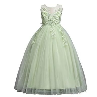 LPATTERN Little/Big Girls Retro Vintage Lace Floral Maxi Long Princess Dress, Light Green