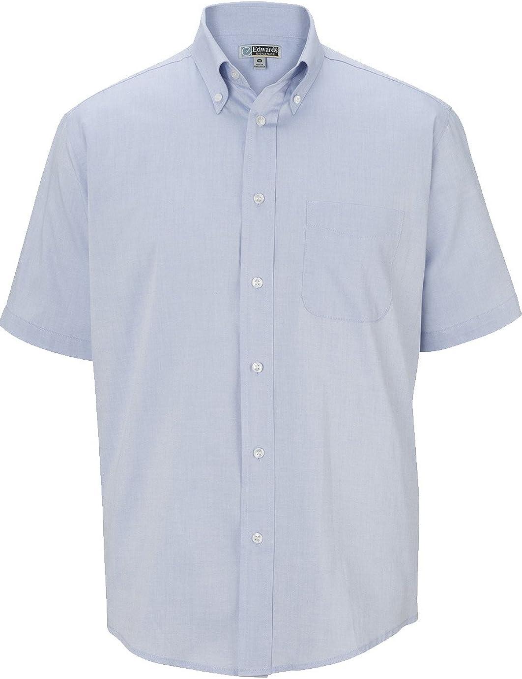 Edwards Garment Men's Short Sleeve Pinpoint Oxford Cotton Rich Shirt