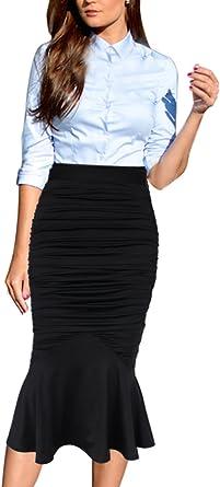 VfEmage Womens Elegant Ruched Frill Ruffle High Waist Pencil Mid-Calf Skirt