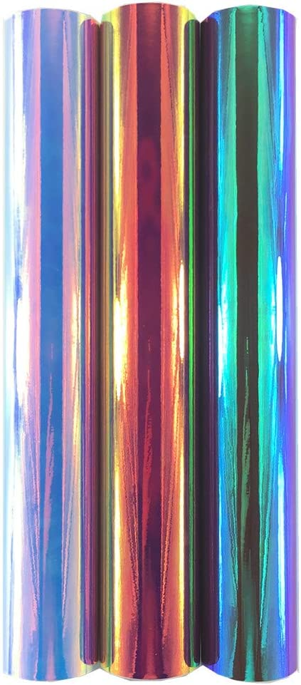 WDragon - Rollo de vinilo adhesivo holográfico permanente para manualidades con diseño de ópalo brillante, 30 x 30 cm, 3 hojas, para herramientas Silhouette Cameo Cricut y más Multicolor-1: Amazon.es: Hogar