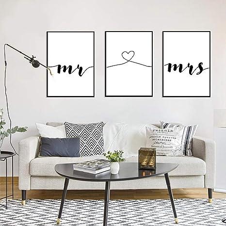 Nordic Ideas Set De 3 Posters Mr Et Mme Citation Murale Chambre Tableaux Décoration Peinture Sur Toile Affiche Noir Et Blanc Motivation Poster Deco