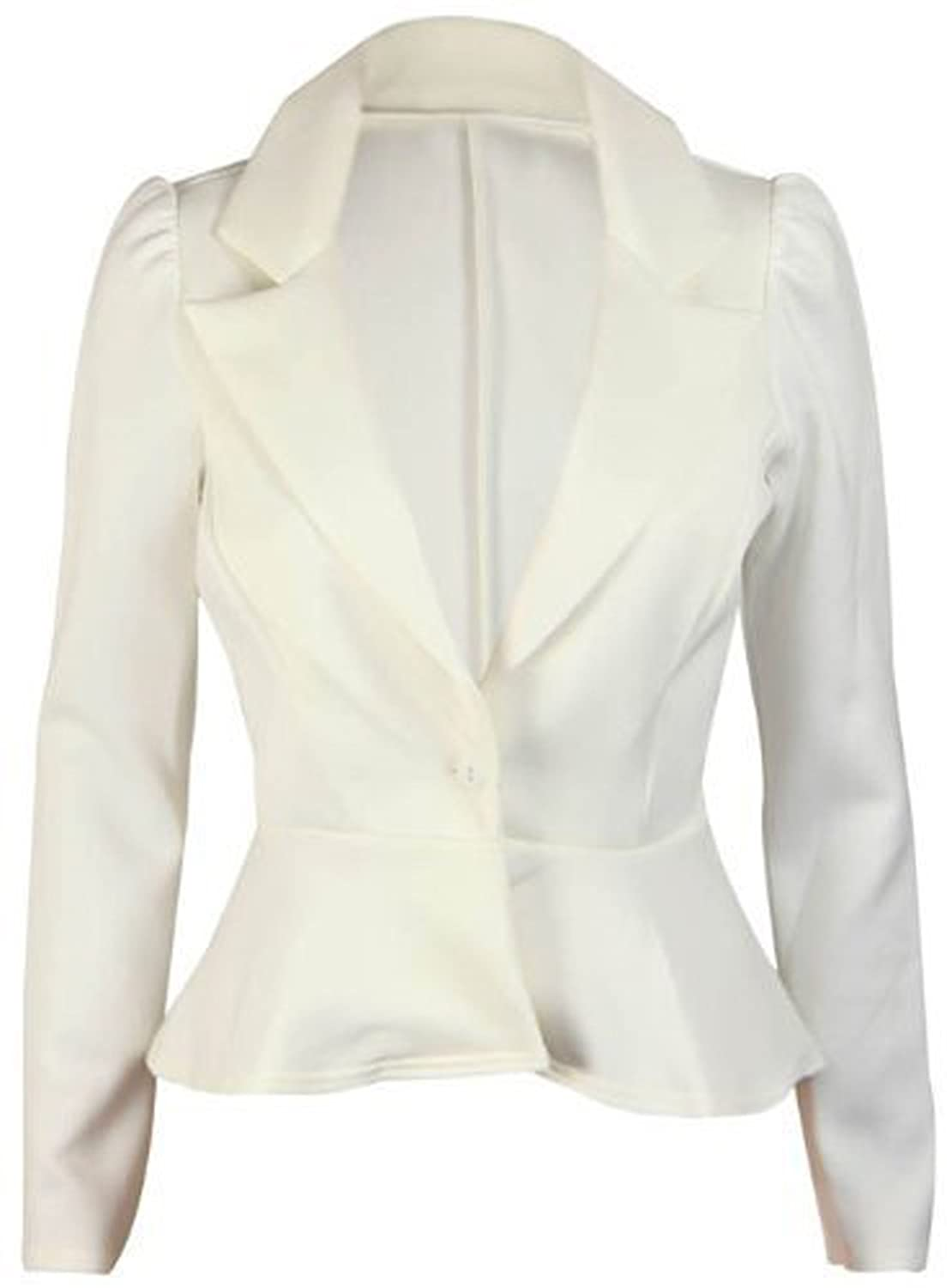 New Ladies Long Sleeve Peplum Flared Frill Womens Fitted Button Blazer Smart Jacket Cream Size 8