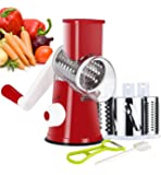 Ourokhome Manual Rotary Cheese Grater - Round Tumbling Box Shredder for Vegetable, Nuts, Potato with Peeler and Brush…