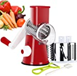 Ourokhome Manual Rotary Cheese Grater - Round Tumbling Box Shredder for