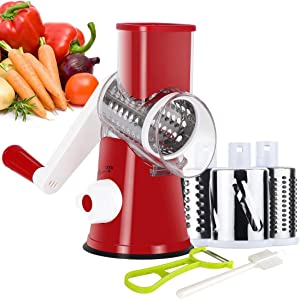Ourokhome Manual Rotary Cheese Grater - Round Tumbling Box Shredder for Vegetable, Nuts, Potato with Peeler and Brush (Red)
