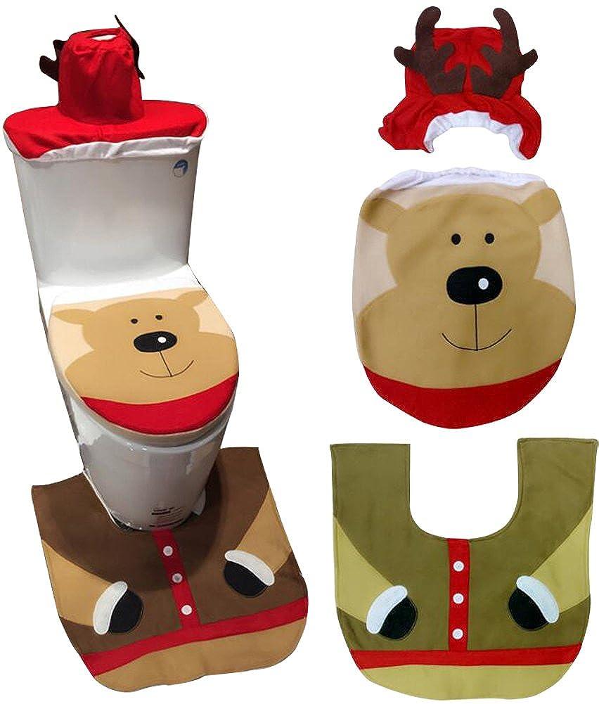 3 Piece Bath Mat Set Christmas Decorations Happy Santa Toilet Seat Cover Set OE508B