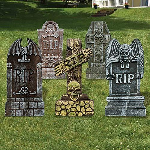 Make Halloween Lawn Decorations (HINZER Halloween Foam RIP Graveyard Tombstones for Yard Decorations, Halloween Party, Haunted House, Graveyard and Outdoor Lawn (5)