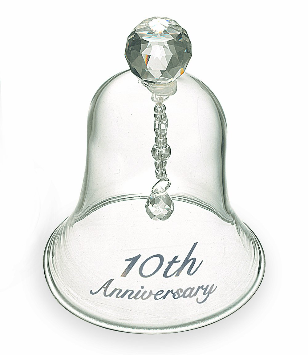 Russ 10th Anniversary Glass Bell, 4-Inch