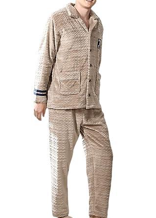 277c00ffc0e Winter Men s Pajamas Thickened Coral Fleece Home Wear Warm Flannel Pajamas  Set (Color   Beige