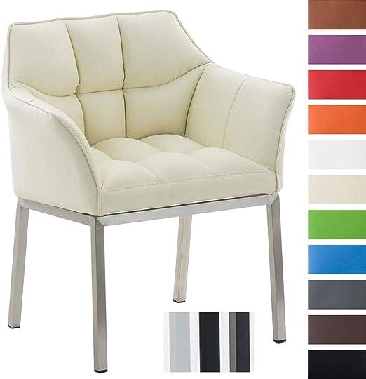 Loungesessel Octavia mit Kunstlederbezug I Polsterstuhl mit Armlehnen und Gestell aus EdelstahlMetall I In vielen Farben erhältlich, Farbe:Creme,