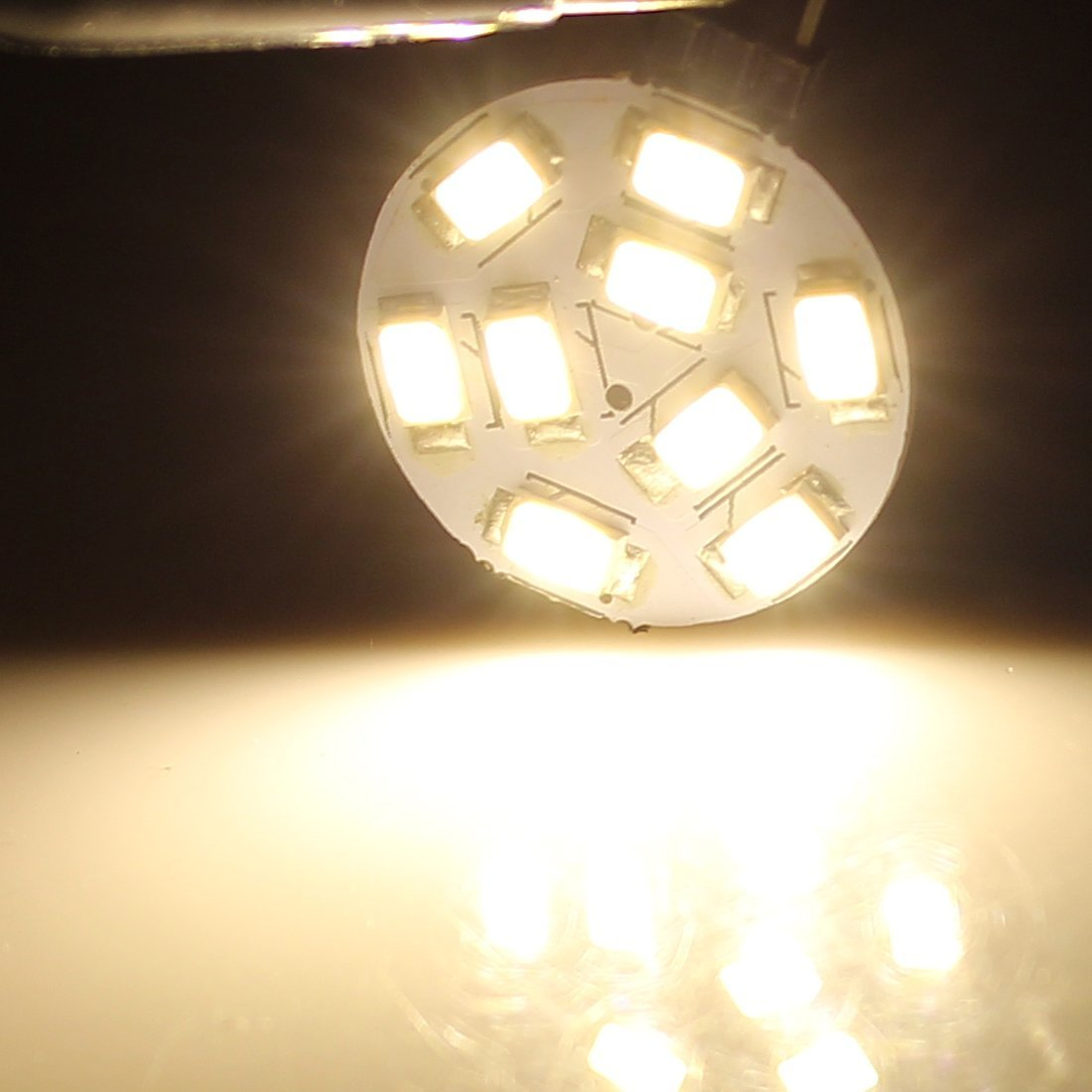 10-30 1.7W G4 de forma redonda 5730 SMD 350LM Bombilla LED 9 5 piezas de blanco cálido - - Amazon.com
