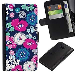 Floral blanco pétalo de la flor de primavera- la tarjeta de Crédito Slots PU Funda de cuero Monedero caso cubierta de piel Para HTC One M8