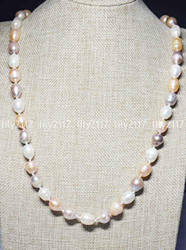 Natural 11-12mm Multi-Color South Sea Baroque Real Pearl Necklaces 48 Inch
