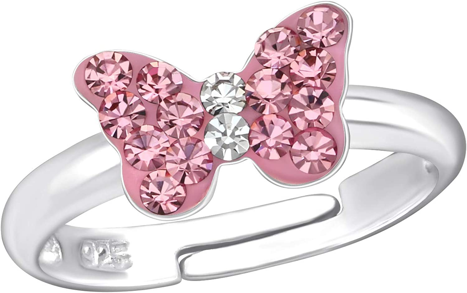 Aube Jewelry Hypoallergenic 925 Sterling Silver Pink Crystal Butterfly Ring Adjustable Size for Girls and Women