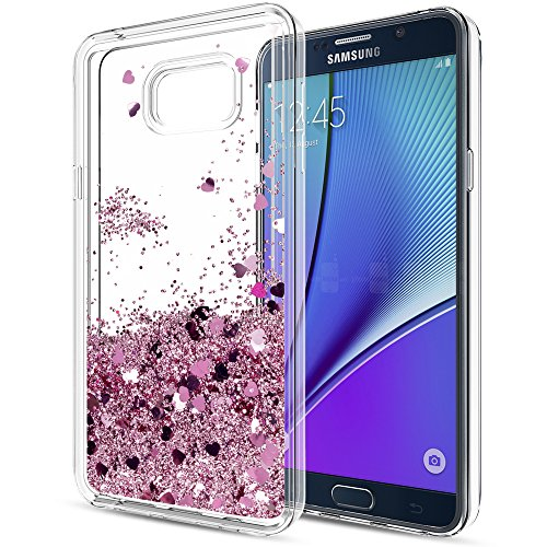 Galaxy Note 5 Liquid Case with HD Screen Protector for Girls Women,LeYi Cute Design Shiny Glitter Moving Quicksand Clear TPU Protective Phone Case Cover for Samsung Galaxy Note 5 ZX Rose Gold